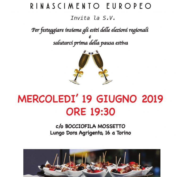 INVITO CENA – MERCOLEDI' 19 GIUGNO 2019 ORE 19:30