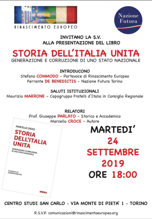 """Invito all'Evento """"STORIA DELL'ITALIA UNITA: GENERAZIONE E CORRUZIONE DI UNO STATO NAZIONALE"""